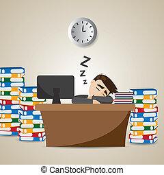 homme affaires, temps, dessin animé, fonctionnement, dormir