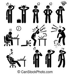 homme affaires, tension, bureau, pression