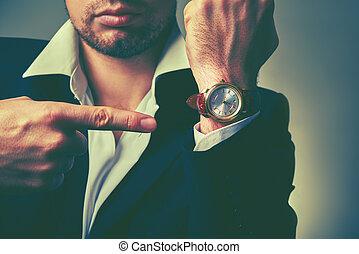 homme affaires, time., montres, bras, concept
