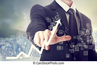 homme affaires, toucher, diagramme croissance, indiquer