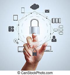 homme affaires, toucher, informatique, projection, cadenas, écran, main, 3d