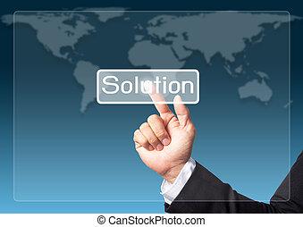 homme affaires, toucher, interface, pousser, écran, main, solution, bouton