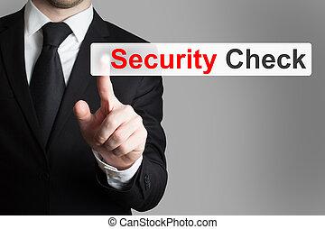 homme affaires, touchscreen, pousser, contrôle sécurité