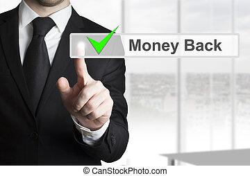 homme affaires, touchscreen, urgent, dos, argent