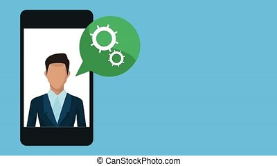 homme affaires, utilisation, animation, smartphone