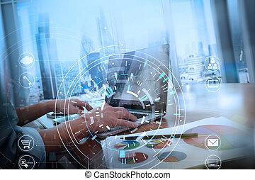 homme affaires, utilisation, bureau, vr, finance, mains, tablette, mobile, numérique, informatique, réunion, ordinateur portable, téléphonez icône, équipe, moderne, diagramme