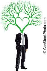 homme affaires, vecteur, tête, arbre