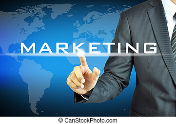 homme affaires, virtuel, écran, signe, commercialisation, toucher