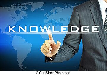 homme affaires, virtuel, écran, signe, connaissance, toucher