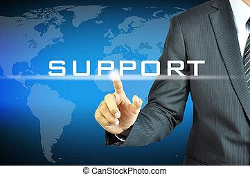 homme affaires, virtuel, écran, soutien, signe, toucher