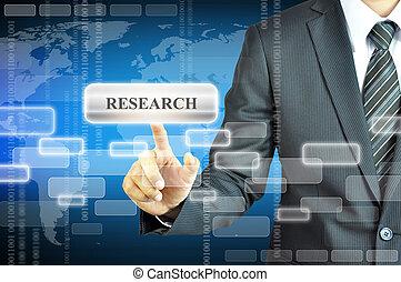 homme affaires, virtuel, recherche, écran, signe, toucher