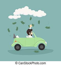 homme affaires, voiture, attraper, conduite, argent