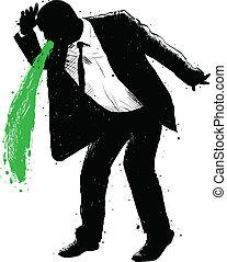 homme affaires, vomissement, vert