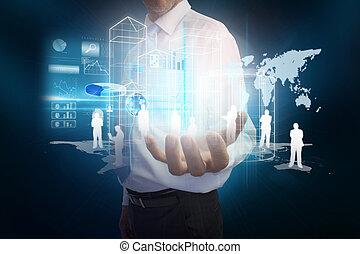 homme affaires, wi, présentation, interface