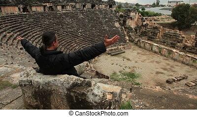 homme, ancien, influenced, touriste