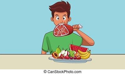 homme, animation, hd, nourriture