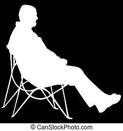 homme, arrière-plan noir, séance