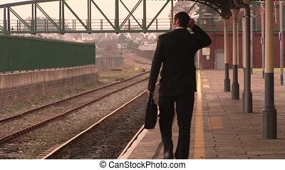 homme, attente, train
