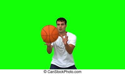 homme, attraper, basket-ball, lancement