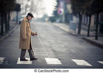 homme aveugle, rue croisement