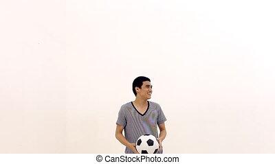 homme, balle, jonglerie, balle, temps