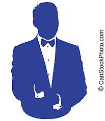 homme bleu, avatar, costume