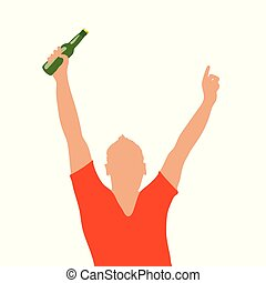 homme, bouteille, illustration, main