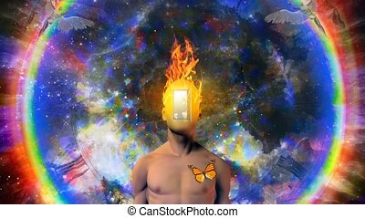 homme, brûlé, esprit