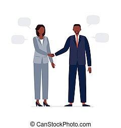 homme, business, hands., plat, african-american, vecteur, officiel, secousse, avoir, procès, meeting., politiciens, illustration., femme, deux