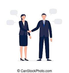 homme, business, hands., plat, candidats, officiel, vecteur, secousse, procès, avoir, femme, meeting., illustration., deux
