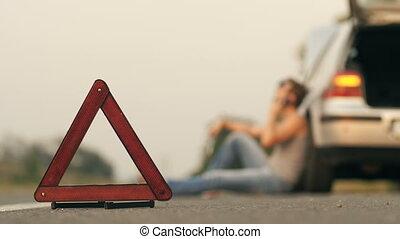homme, cassé, voiture, séance