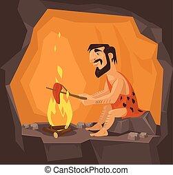 homme cavernes, cuisine, caverne