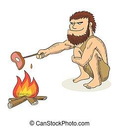 homme cavernes, dessin animé, illustration