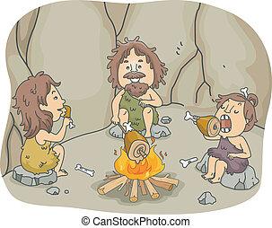homme cavernes, repas, famille