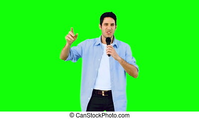 homme, chant, dan, microphone