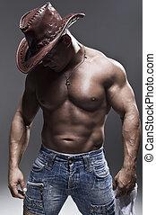 homme, chapeau, musculaire, cow-boy