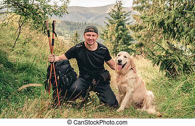 homme, chien, montagne, randonnée