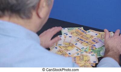 homme, concept., argent, collects, corruption., finance, himself., avidité, concept, richesses, faillite, investment.