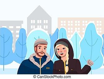homme, couple, paysage., mignon, promenade, rue, girl, ville, bas temps, hiver