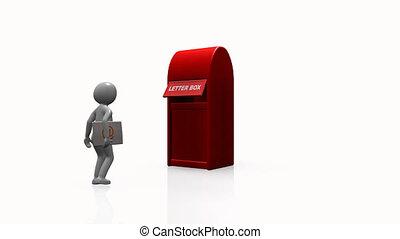 homme, courrier, envoi, 3d