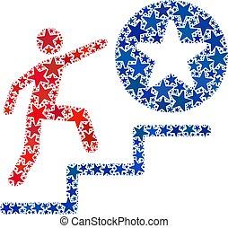 homme, démocratique, étapes, américain, reussite, collage, couleurs, vecteur, étoiles
