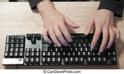 homme, dactylographie, clavier, noir