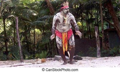 homme, danse, aborigène, guerrier