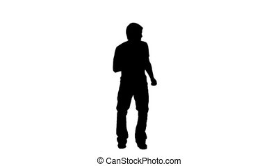 homme, danse, silhouette, causally