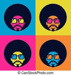 homme, danse, vecteur, disco, affiche, couleur, portrait, retro, 70s., lunettes soleil, clair