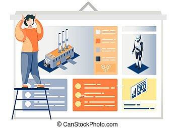 homme, description, usine, automation, affiche, présentation, industrie, robot-driven, regarder