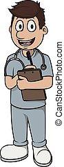 homme, dessin animé, vecteur, infirmière