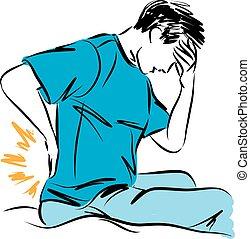 homme, douleur dorsale, illustration, vecteur, geste
