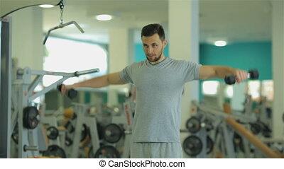 homme, dumbbells, exercice, jeune