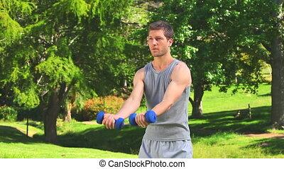 homme, exercice, jeune